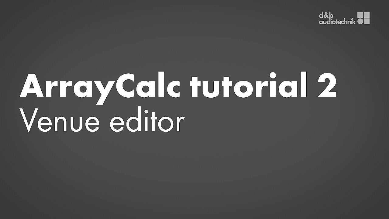 ArrayCalc tutorial. 2. Venue editor